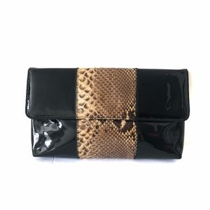 Vtg MARIGOLD Patent Leather Snake Skin Clutch